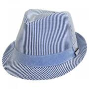 Blues Seersucker Cotton Fedora Hat
