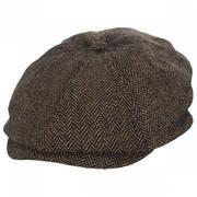 Brood Herringbone Wool Blend Newsboy Cap - Brown/Khaki