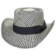 Two-Tone Toyo Straw Gambler Hat