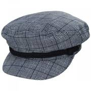Plaid Linen and Cotton Blend Fiddler Cap