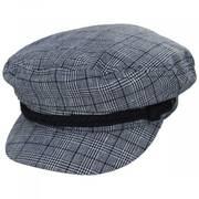 Plaid Linen and Cotton Blend Fiddler Cap