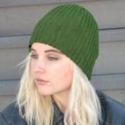 Rib Knit Acrylic Beanie Hat