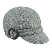 Muffy Herringbone Wool Blend Newsy Cap - Black