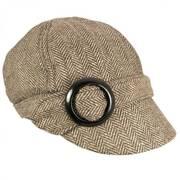 Muffy Herringbone Wool Blend Newsy Cap - Brown