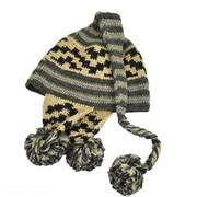 Striped Pixie Wool Crochet Knit Beanie Hat