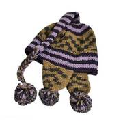 Striped Pixie Wool Crochet Knit Beanie Hat