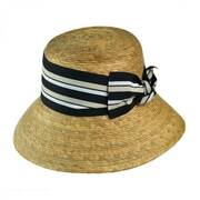 Ella Striped Bow Palm Straw Cloche Hat