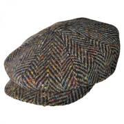 Large Herringbone Donegal Tweed Wool Newsboy Cap - Brown
