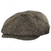Harris Tweed Overcheck Herringbone Wool Newsboy Cap