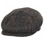 Overcheck Herringbone Harris Tweed Wool Newsboy Cap