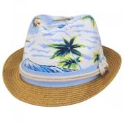 Toddlers' Tropical Crown Cotton Toyo Straw Blend Fedora Hat