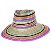 Joanna Striped Wheat Straw Fedora Hat