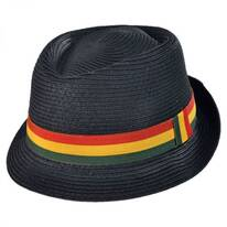 Rasta Toyo Straw Diamond Crown Fedora Hat