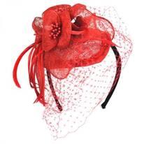 Flower and Veil Straw Fascinator Headband