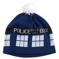 Dr. Who TARDIS Pom Knit Acrylic Beanie Hat