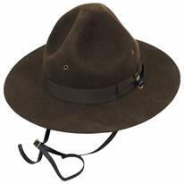 Wool Campaign Hat with Adjustable Chin Strap
