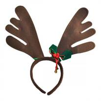 Bells and Holly Reindeer Antler Headband