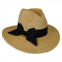 Bow Toyo Straw Wide Brim Fedora Hat