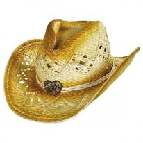 Heart Bead Toyo Straw Western Hat