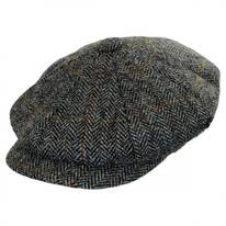 Herringbone Harris Tweed Wool Newsboy Cap