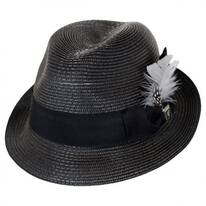 Polybraid Straw Pinch Crown Fedora Hat