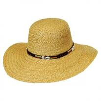 Shell and Bead Band Raffia Straw Swinger Hat