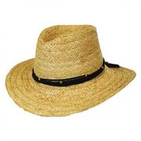 Twisted Leather Band with Feathers Raffia Straw Aussie Hat