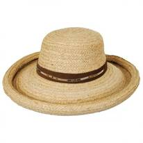 Beaded Suede Band Raffia Straw Roller Hat
