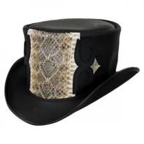 Caliber Rattlesnake Leather Topper Hat