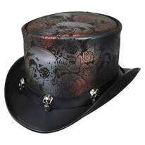 Skull N Roses Leather Top Hat