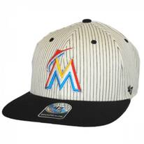 Miami Marlins MLB Woodside Stripe Snapback Baseball Cap