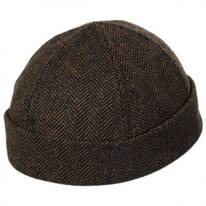 Six Panel Herringbone Wool Skull Cap Beanie Hat
