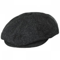 Brood Herringbone Wool Blend Newsboy Cap - Grey/Black