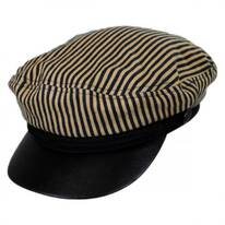 Striped Cotton Sailor's Cap - Faux Leather Bill