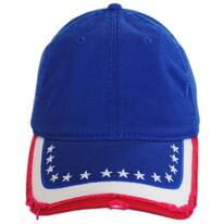 Stars and Stripes Distressed Adjustable Baseball Cap