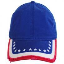 Stars and Stripes Distressed Adjustable Baseball Cap