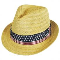 US Flag Band Toyo Straw Fedora Hat