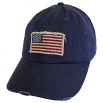Distressed USA Flag Strapback Baseball Cap Dad Hat