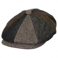 Herringbone Patchwork Wool Blend Newsboy Cap