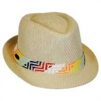 Pattern Band Toyo Straw Fedora Hat