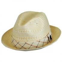 Two-Tone Check Toyo Straw Fedora Hat