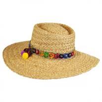 Pattaya Pom Pom Raffia Straw Boater Hat