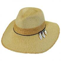 Leaves Toyo and Raffia Straw Fedora Hat