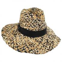 Three-Tone Raffia Straw Fedora Hat
