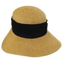 Pleated Chiffon Toyo Straw Facesaver Hat