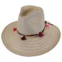 Tassel Trim Toyo Straw Safari Fedora Hat