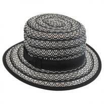 Crocheted Toyo Straw Boater Hat