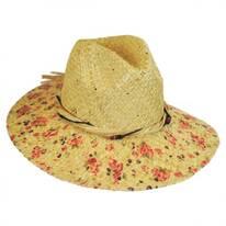 Floral Print Raffia Straw Fedora Hat