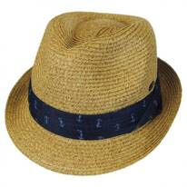 Nautical Band Toyo Straw Trilby Fedora Hat