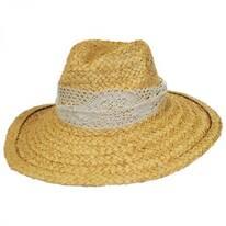 La Goa Raffia Straw Fedora Hat